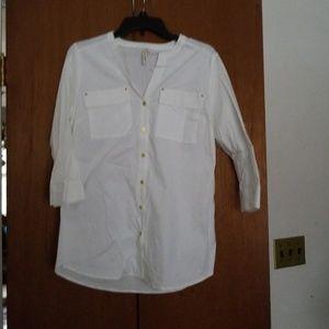 NWOT! White loose button down dress shirt.